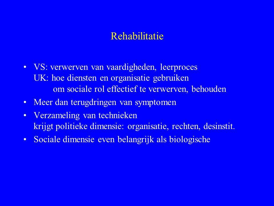 Problemen psychiatrische handicap Beperkingen psych. # fys. stoornis psych.: soc. rol primair probleem fys.: soc. rol secundair probleem Psychisch: ni