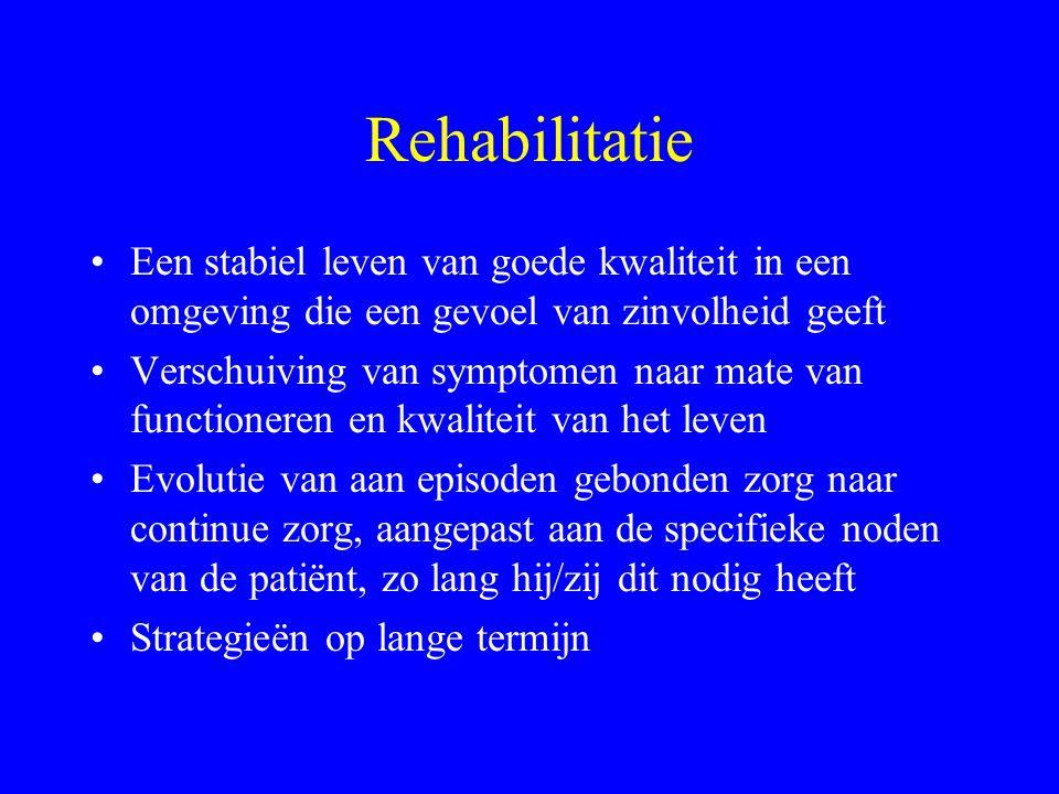 Rehabilitatie VS: verwerven van vaardigheden, leerproces UK: hoe diensten en organisatie gebruiken om sociale rol effectief te verwerven, behouden Mee