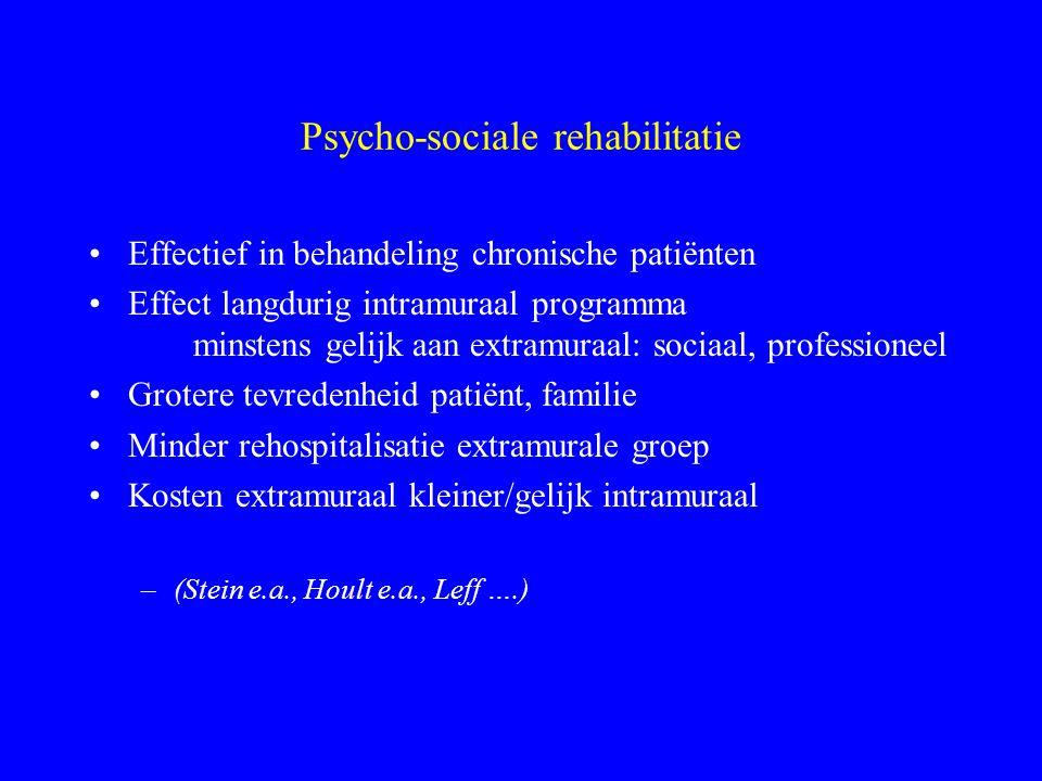 Rehabilitatie Een stabiel leven van goede kwaliteit in een omgeving die een gevoel van zinvolheid geeft Verschuiving van symptomen naar mate van funct