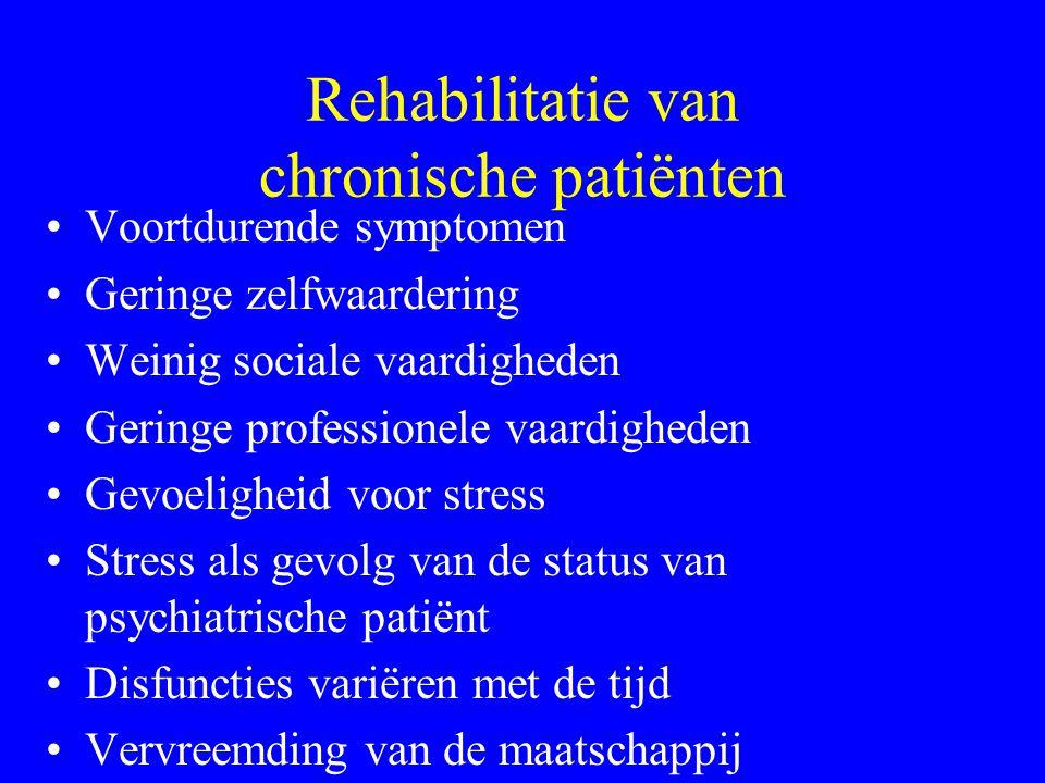 Rehabilitatie van patiënten Evolutie naar meer chronische aandoening –Verder uitblijven van succes –Frustratie –Depressie en wanhoop –Onmogelijkheid t