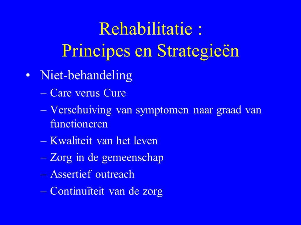 Rehabilitatie : Principes en Strategieën De 4 N's van R.Vermote –Niet-behandeling –Noodspecificiteit –Normalisatie –Netwerk