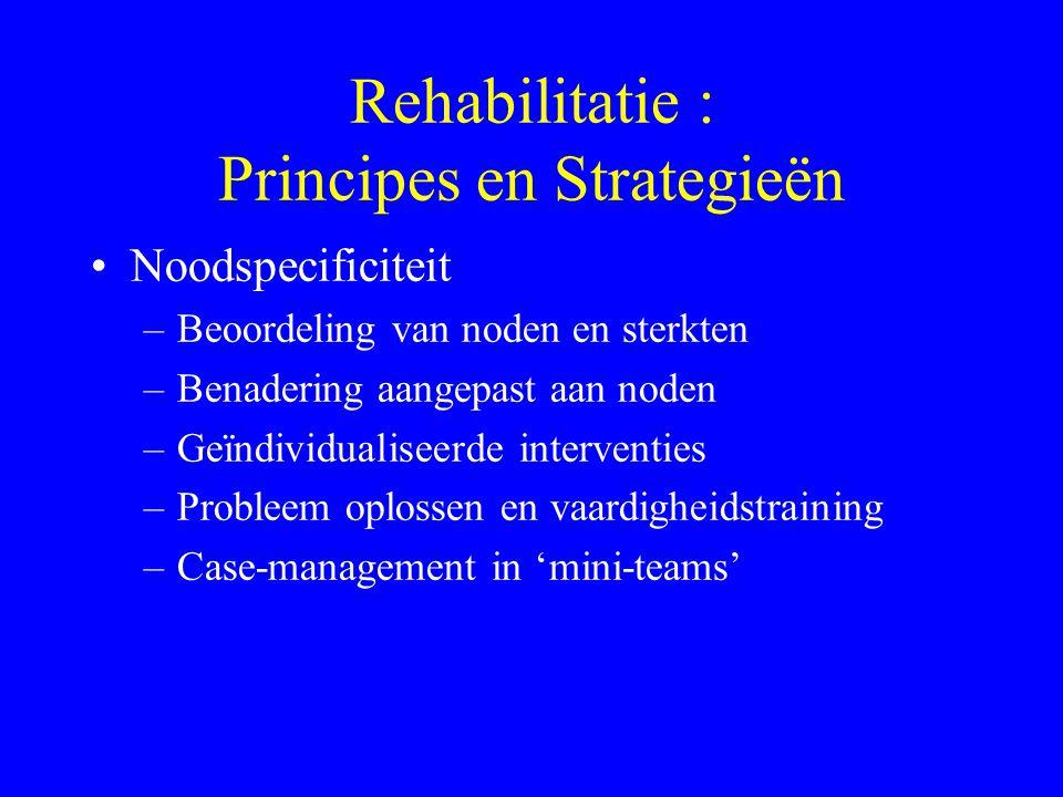 Rehabilitatie : Principes en Strategieën Niet-behandeling –Care verus Cure –Verschuiving van symptomen naar graad van functioneren –Kwaliteit van het