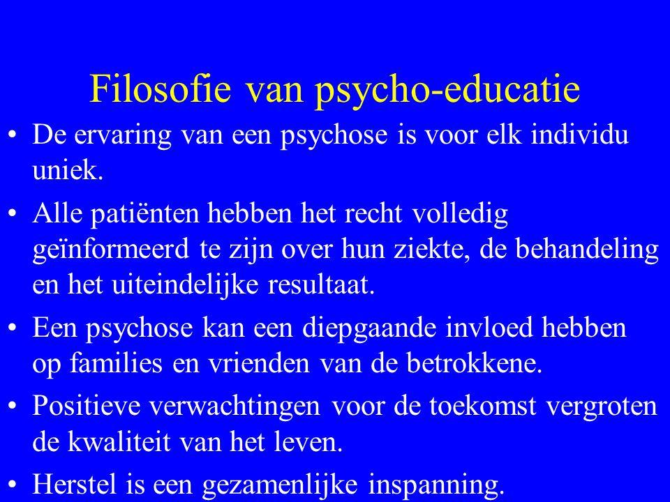 Filosofie van psycho-educatie Mensen hebben recht op toegang tot de kennis die hen kan helpen hun ervaring van hunzelf en van hun wereld te begrijpen