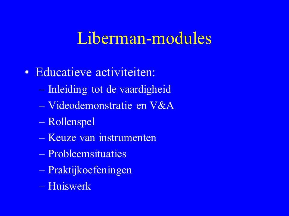 Liberman-modules Modules: –Omgaan met medicatie –Omgaan met symptomen –Conversatievaardigheden –Recreatie voor ontspanning –...