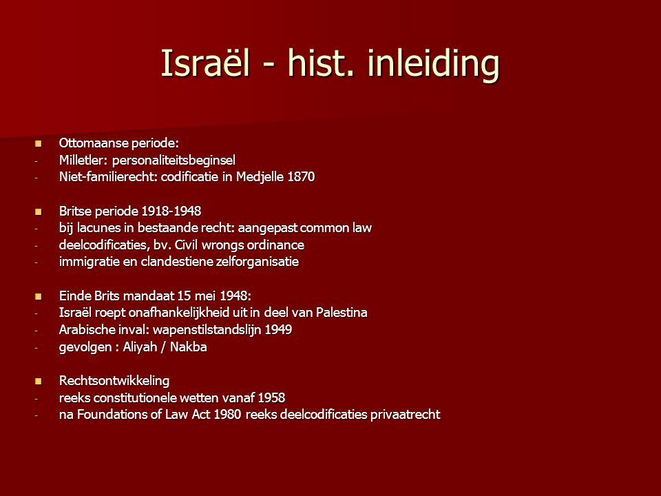 Israël - hist. inleiding Ottomaanse periode: Ottomaanse periode: - Milletler: personaliteitsbeginsel - Niet-familierecht: codificatie in Medjelle 1870