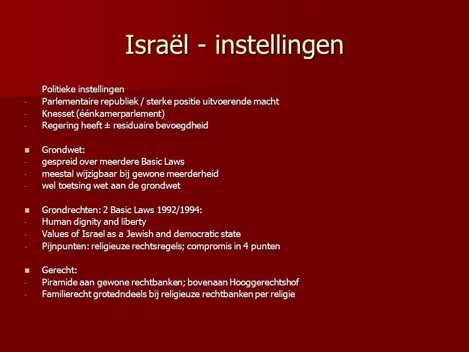 Israël - instellingen Politieke instellingen - Parlementaire republiek / sterke positie uitvoerende macht - Knesset (éénkamerparlement) - Regering heeft ± residuaire bevoegdheid Grondwet: Grondwet: - gespreid over meerdere Basic Laws - meestal wijzigbaar bij gewone meerderheid - wel toetsing wet aan de grondwet Grondrechten: 2 Basic Laws 1992/1994: Grondrechten: 2 Basic Laws 1992/1994: - Human dignity and liberty - Values of Israel as a Jewish and democratic state - Pijnpunten: religieuze rechtsregels; compromis in 4 punten Gerecht: Gerecht: - Piramide aan gewone rechtbanken; bovenaan Hooggerechtshof - Familierecht grotedndeels bij religieuze rechtbanken per religie