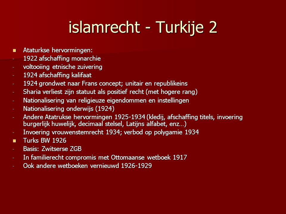 islamrecht - Turkije 2 Ataturkse hervormingen: Ataturkse hervormingen: - 1922 afschaffing monarchie - voltooiing etnische zuivering - 1924 afschaffing