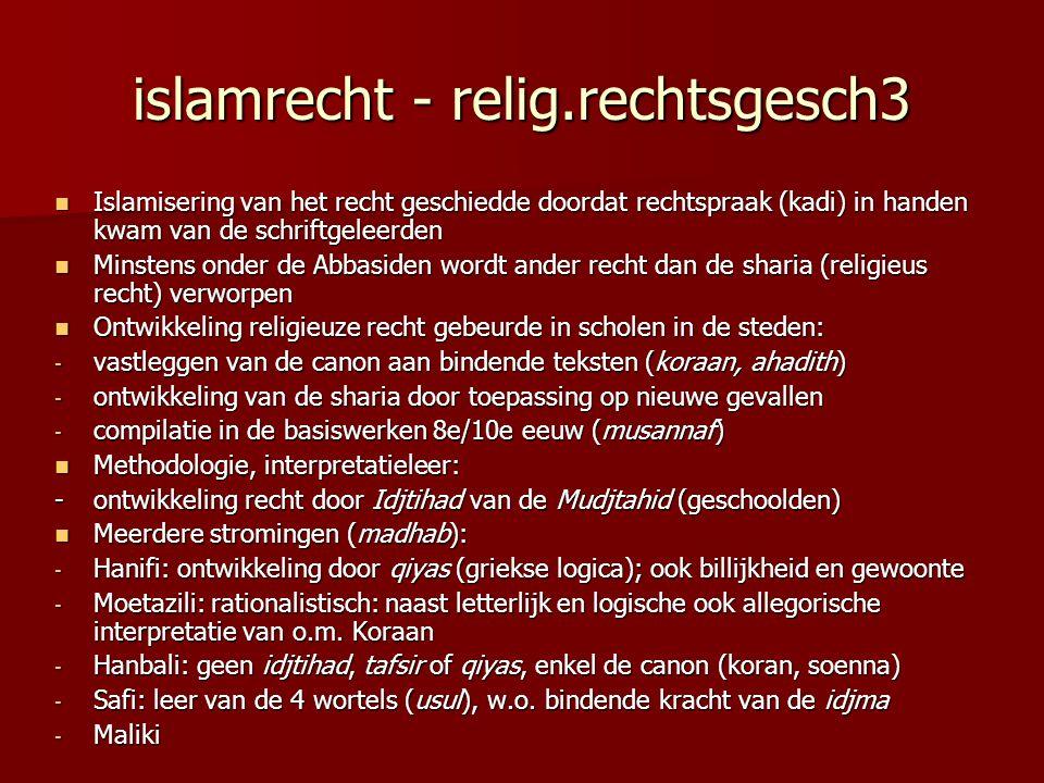 islamrecht - relig.rechtsgesch3 Islamisering van het recht geschiedde doordat rechtspraak (kadi) in handen kwam van de schriftgeleerden Islamisering v