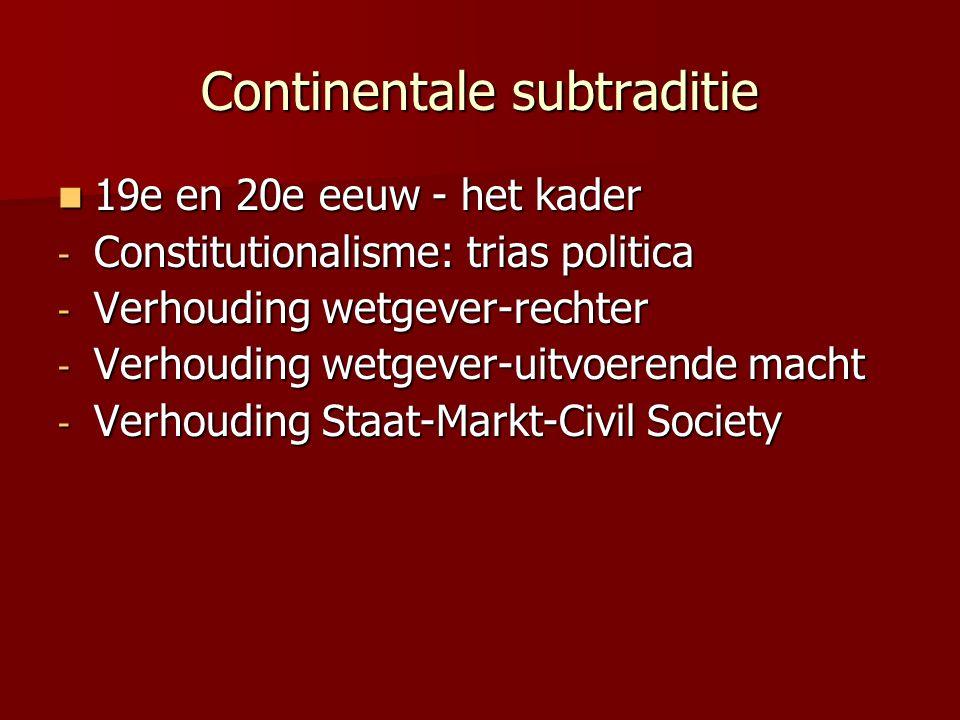 Continentale subtraditie 19e en 20e eeuw - het kader 19e en 20e eeuw - het kader - Constitutionalisme: trias politica - Verhouding wetgever-rechter - Verhouding wetgever-uitvoerende macht - Verhouding Staat-Markt-Civil Society
