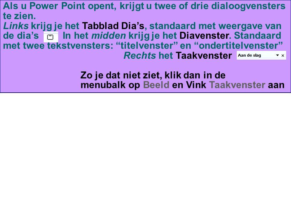 Als u Power Point opent, krijgt u twee of drie dialoogvensters te zien. Links krijg je het Tabblad Dia's, standaard met weergave van de dia's In het m