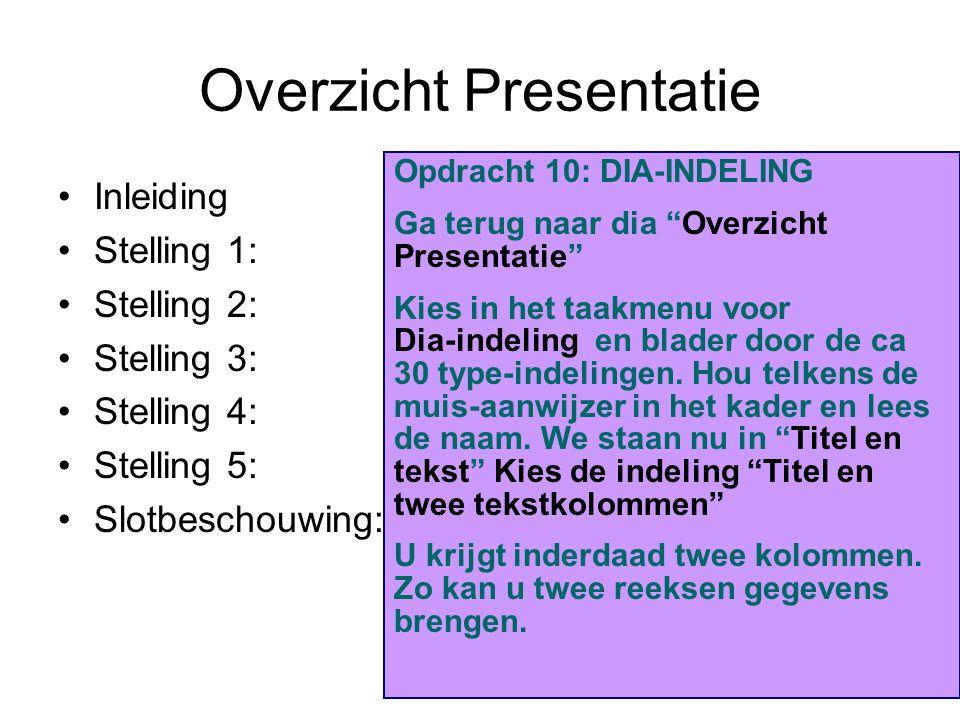 Overzicht Presentatie Inleiding Stelling 1: Stelling 2: Stelling 3: Stelling 4: Stelling 5: Slotbeschouwing: Opdracht 10: DIA-INDELING Ga terug naar d