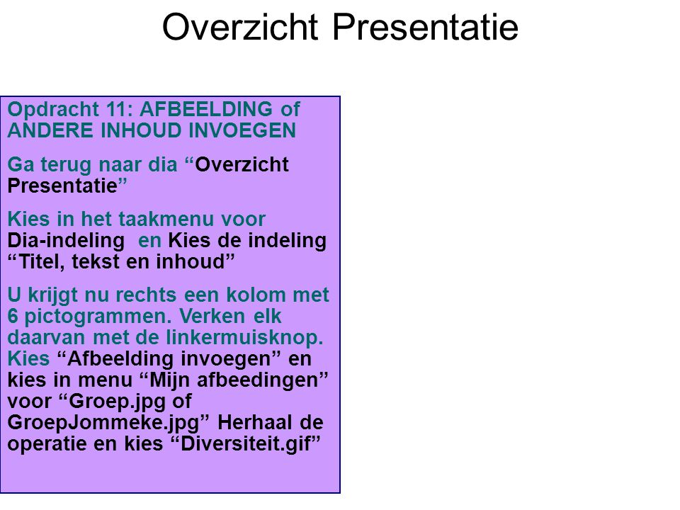 Overzicht Presentatie Inleiding Stelling 1: Stelling 2: Stelling 3: Stelling 4: Stelling 5: Slotbeschouwing: Opdracht 11: AFBEELDING of ANDERE INHOUD