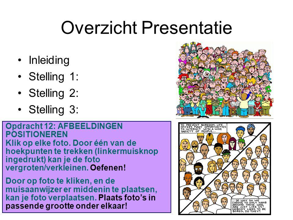 Overzicht Presentatie Inleiding Stelling 1: Stelling 2: Stelling 3: Stelling 4: Stelling 5: Slotbeschouwing: Opdracht 12: AFBEELDINGEN POSITIONEREN Kl