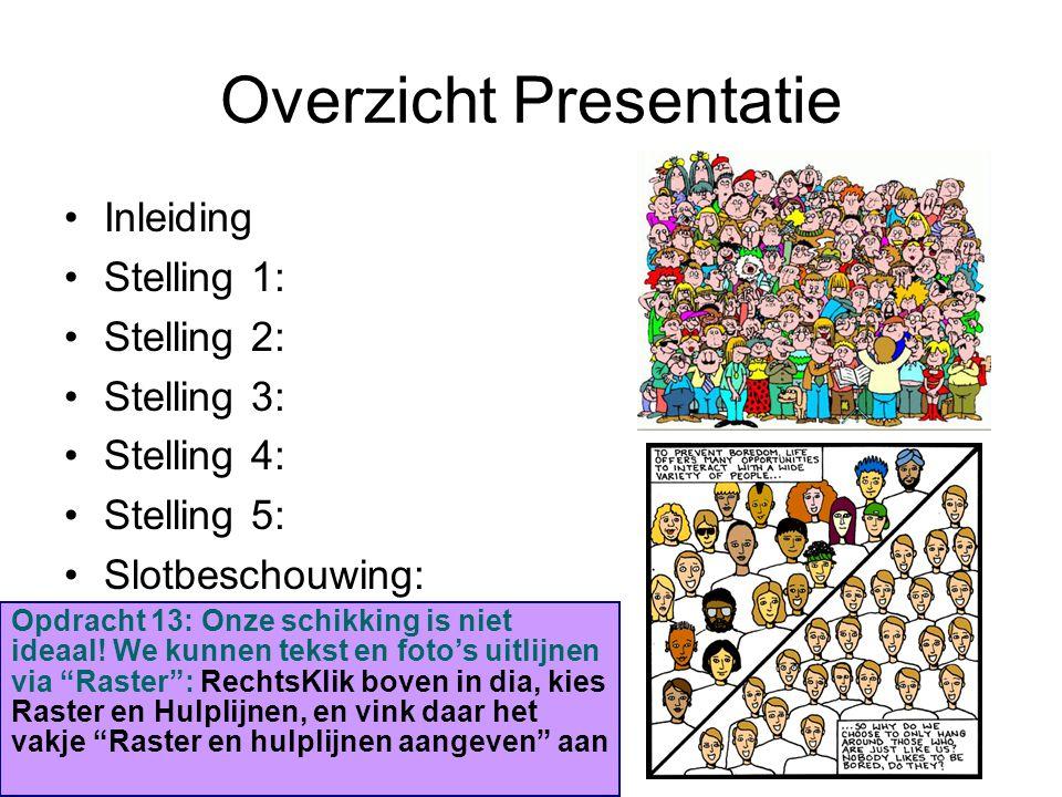 Overzicht Presentatie Inleiding Stelling 1: Stelling 2: Stelling 3: Stelling 4: Stelling 5: Slotbeschouwing: Opdracht 13: Onze schikking is niet ideaa