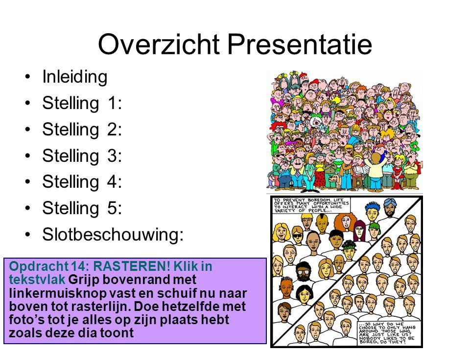 Overzicht Presentatie Inleiding Stelling 1: Stelling 2: Stelling 3: Stelling 4: Stelling 5: Slotbeschouwing: Opdracht 14: RASTEREN! Klik in tekstvlak