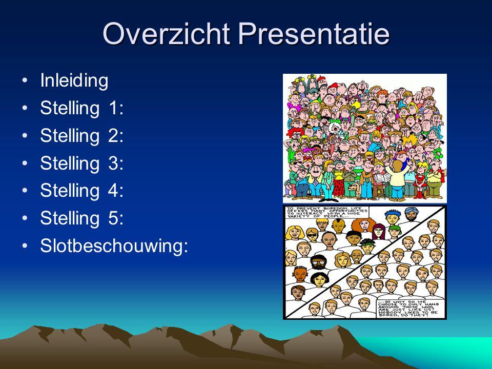 Overzicht Presentatie Inleiding Stelling 1: Stelling 2: Stelling 3: Stelling 4: Stelling 5: Slotbeschouwing: