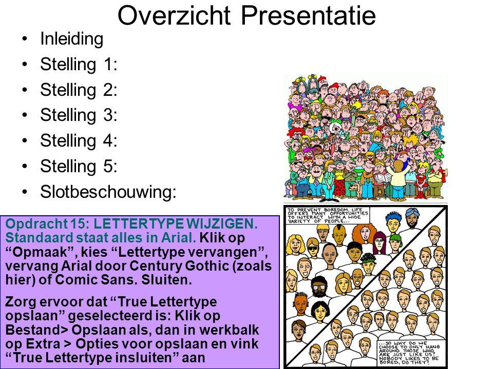 Overzicht Presentatie Inleiding Stelling 1: Stelling 2: Stelling 3: Stelling 4: Stelling 5: Slotbeschouwing: Opdracht 15: LETTERTYPE WIJZIGEN.