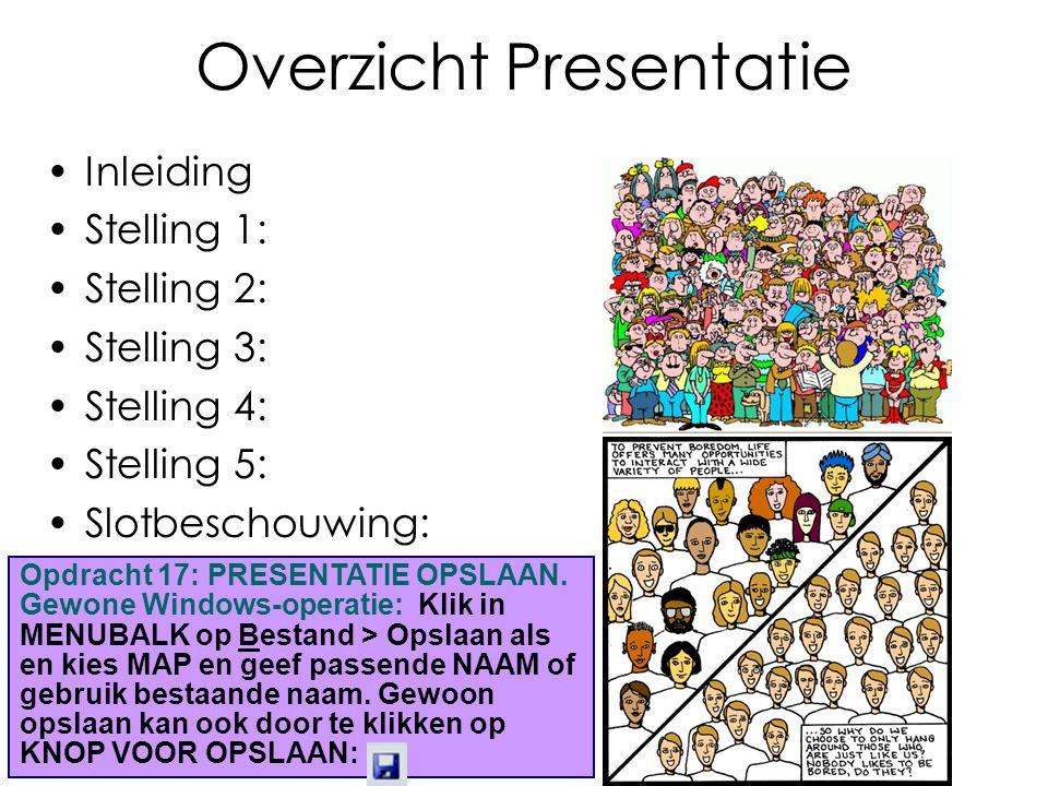 Overzicht Presentatie Inleiding Stelling 1: Stelling 2: Stelling 3: Stelling 4: Stelling 5: Slotbeschouwing: Opdracht 17: PRESENTATIE OPSLAAN.