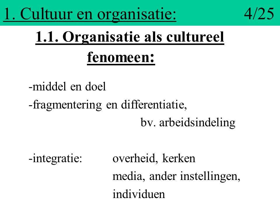 1.Cultuur en organisatie: 4/25 -middel en doel -fragmentering en differentiatie, bv.