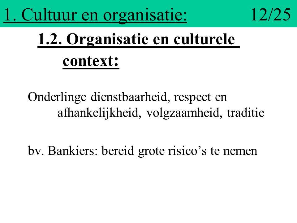 1. Cultuur en organisatie: 12/25 Onderlinge dienstbaarheid, respect en afhankelijkheid, volgzaamheid, traditie bv. Bankiers: bereid grote risico's te