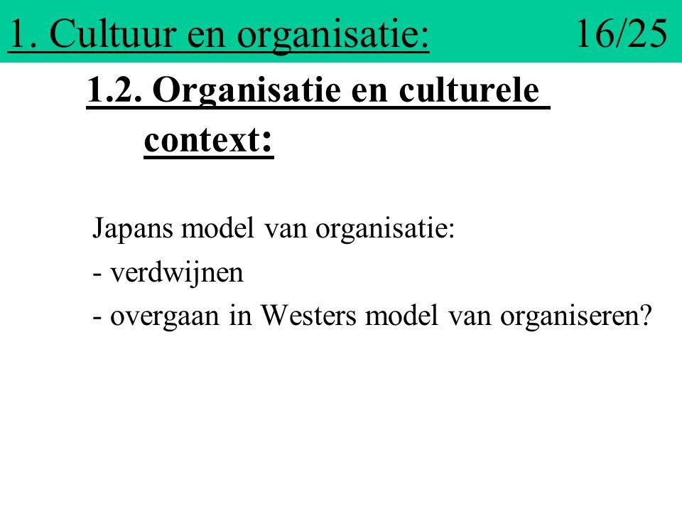 1. Cultuur en organisatie: 16/25 Japans model van organisatie: - verdwijnen - overgaan in Westers model van organiseren? 1.2. Organisatie en culturele