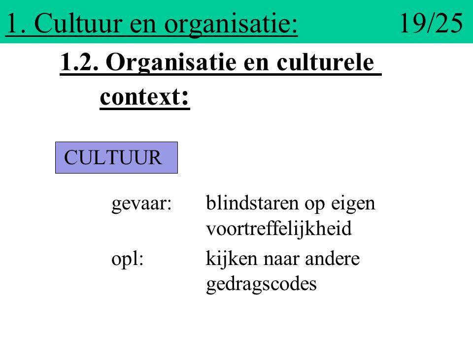 1. Cultuur en organisatie: 19/25 CULTUUR gevaar: blindstaren op eigen voortreffelijkheid opl:kijken naar andere gedragscodes 1.2. Organisatie en cultu