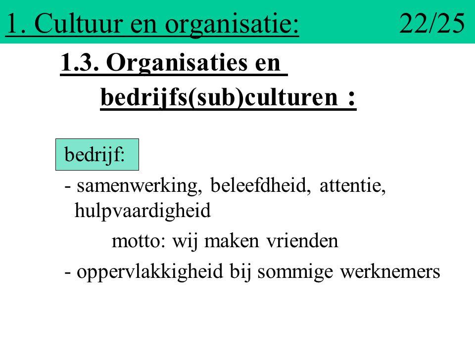 1. Cultuur en organisatie: 22/25 bedrijf: - samenwerking, beleefdheid, attentie, hulpvaardigheid motto: wij maken vrienden - oppervlakkigheid bij somm