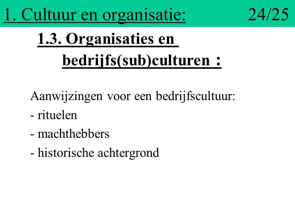 1. Cultuur en organisatie: 24/25 Aanwijzingen voor een bedrijfscultuur: - rituelen - machthebbers - historische achtergrond 1.3. Organisaties en bedri
