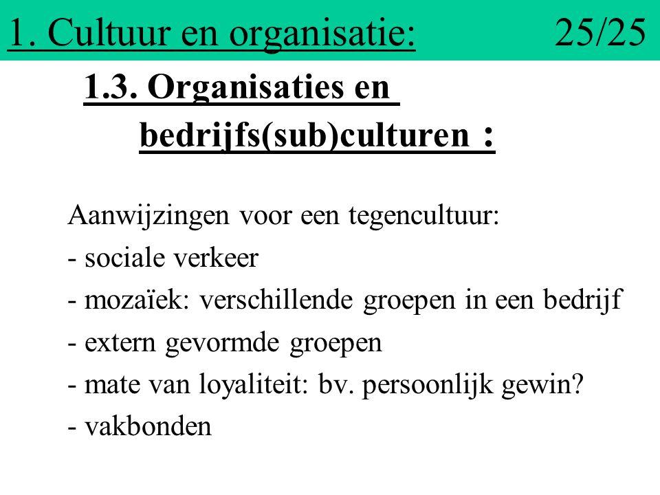 1. Cultuur en organisatie: 25/25 Aanwijzingen voor een tegencultuur: - sociale verkeer - mozaïek: verschillende groepen in een bedrijf - extern gevorm