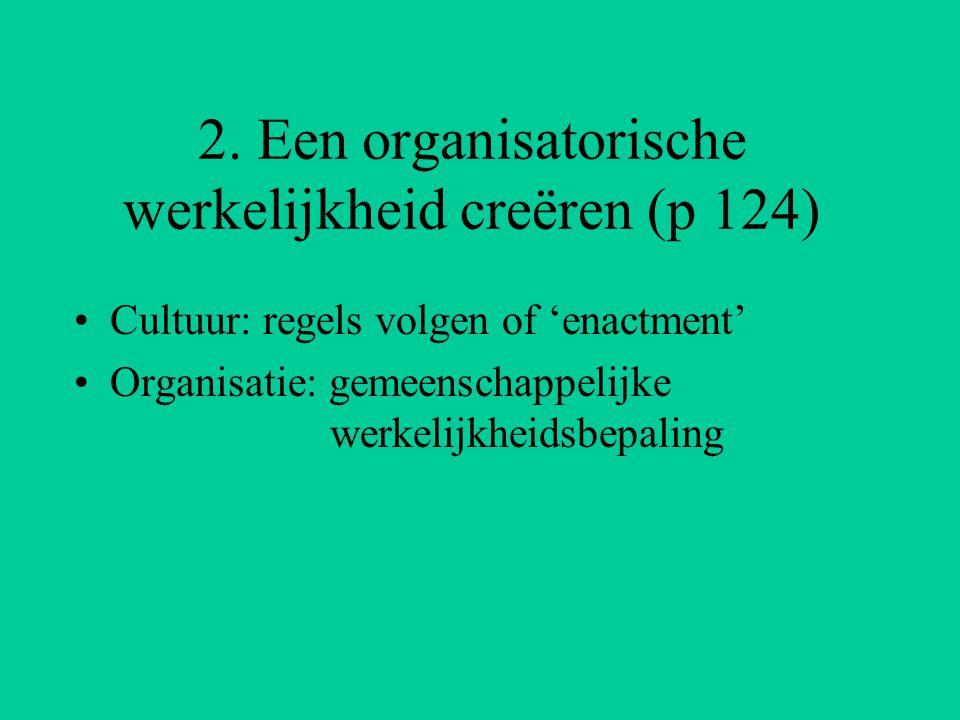 2. Een organisatorische werkelijkheid creëren (p 124) Cultuur: regels volgen of 'enactment' Organisatie: gemeenschappelijke werkelijkheidsbepaling