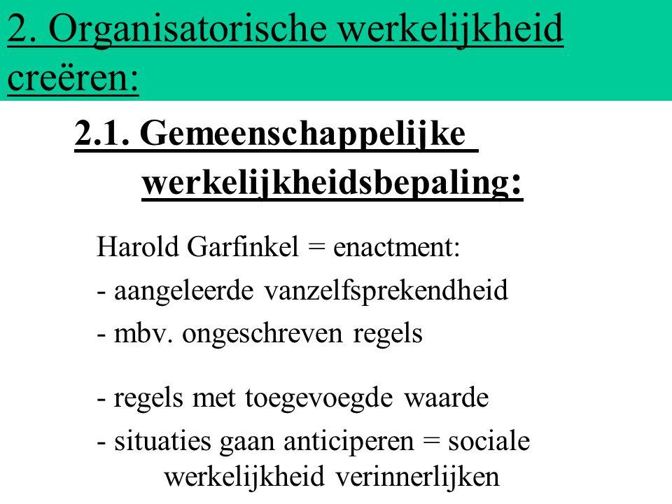 2. Organisatorische werkelijkheid creëren: Harold Garfinkel = enactment: - aangeleerde vanzelfsprekendheid - mbv. ongeschreven regels - regels met toe