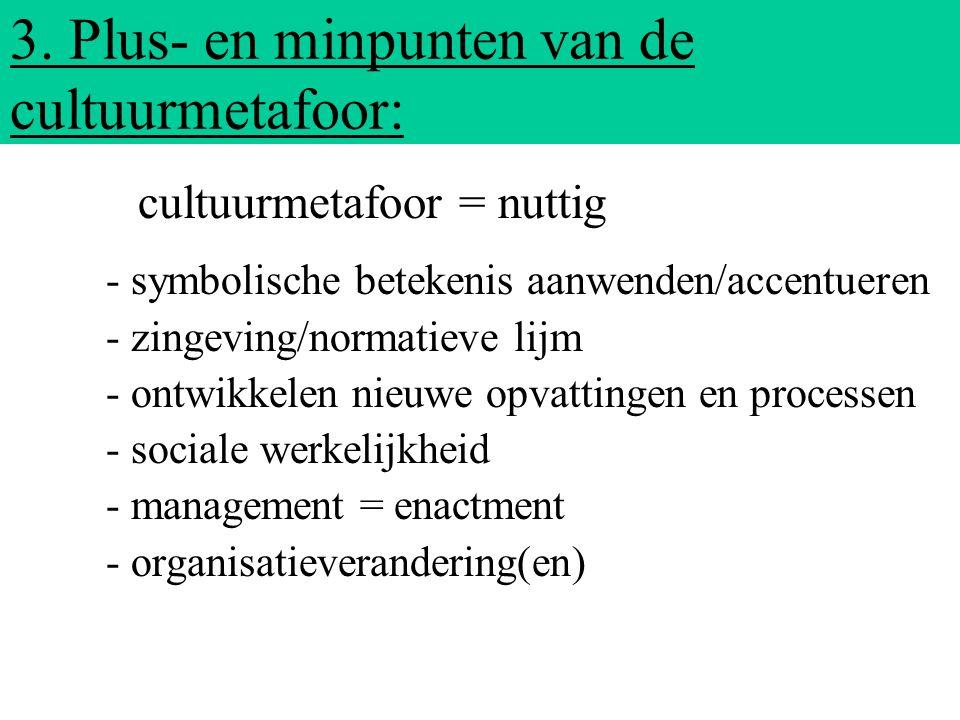 3. Plus- en minpunten van de cultuurmetafoor: - symbolische betekenis aanwenden/accentueren - zingeving/normatieve lijm - ontwikkelen nieuwe opvatting