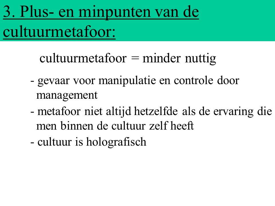 3. Plus- en minpunten van de cultuurmetafoor: - gevaar voor manipulatie en controle door management - metafoor niet altijd hetzelfde als de ervaring d
