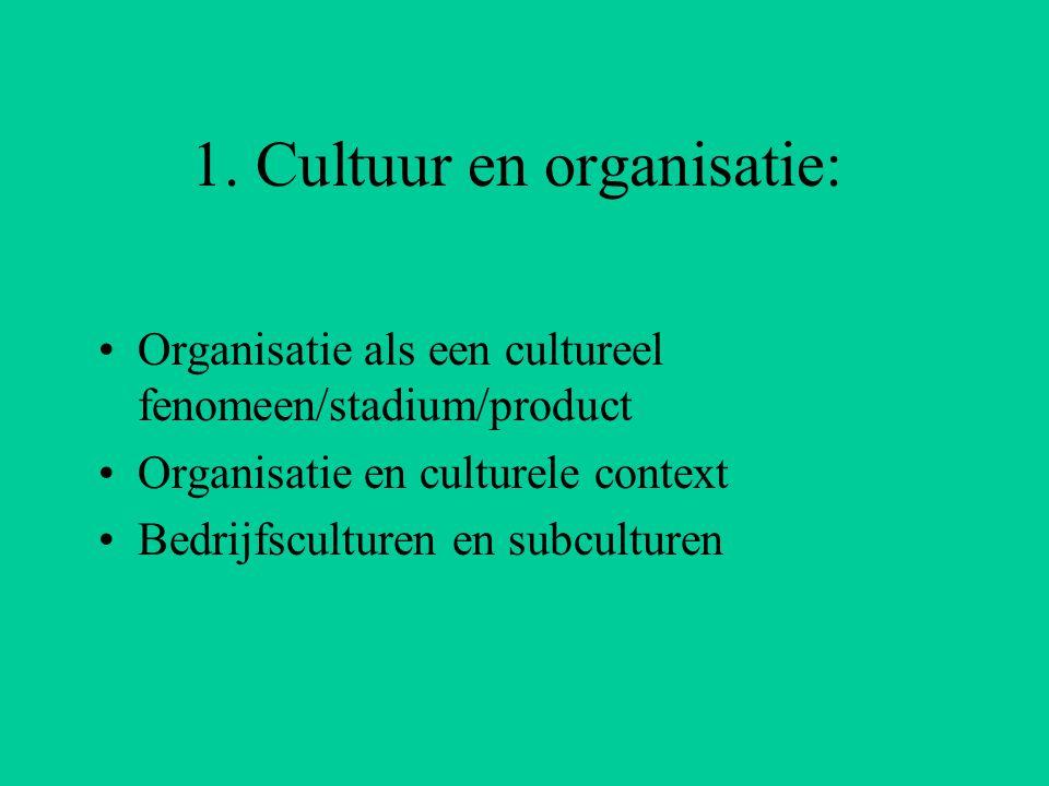 1. Cultuur en organisatie: Organisatie als een cultureel fenomeen/stadium/product Organisatie en culturele context Bedrijfsculturen en subculturen