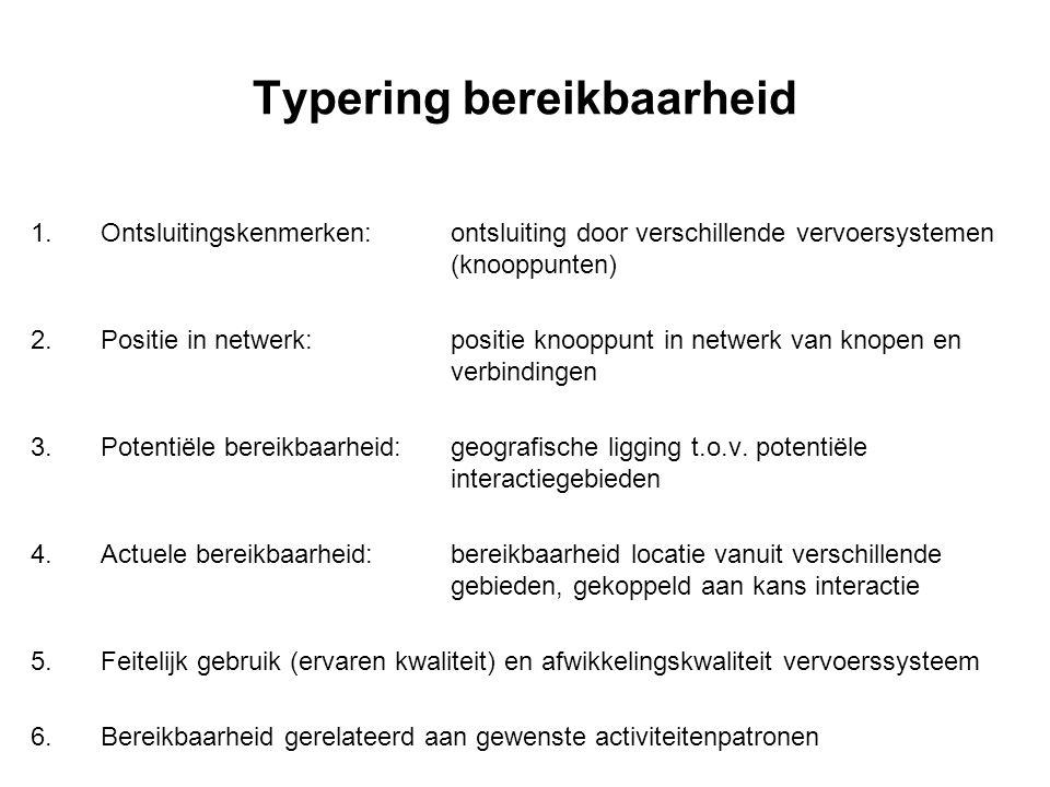 Typering bereikbaarheid 1.Ontsluitingskenmerken:ontsluiting door verschillende vervoersystemen (knooppunten) 2.Positie in netwerk:positie knooppunt in