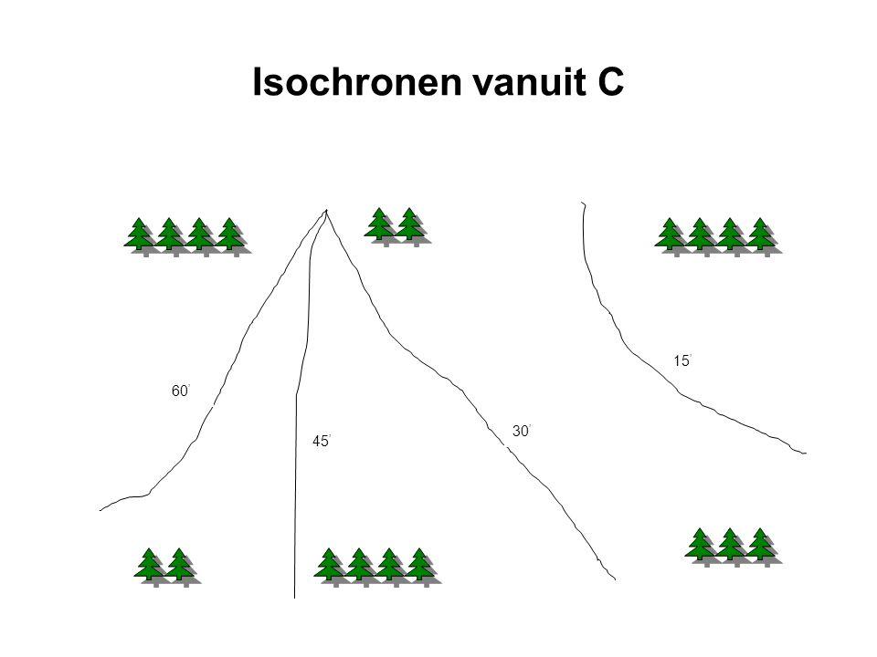 Isochronen vanuit C 15 ' 30 ' 45 ' 60 '