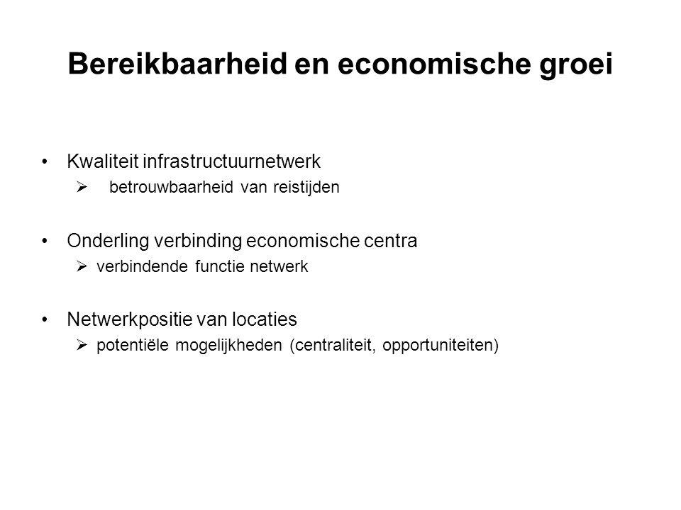 Bereikbaarheid en economische groei Kwaliteit infrastructuurnetwerk  betrouwbaarheid van reistijden Onderling verbinding economische centra  verbind
