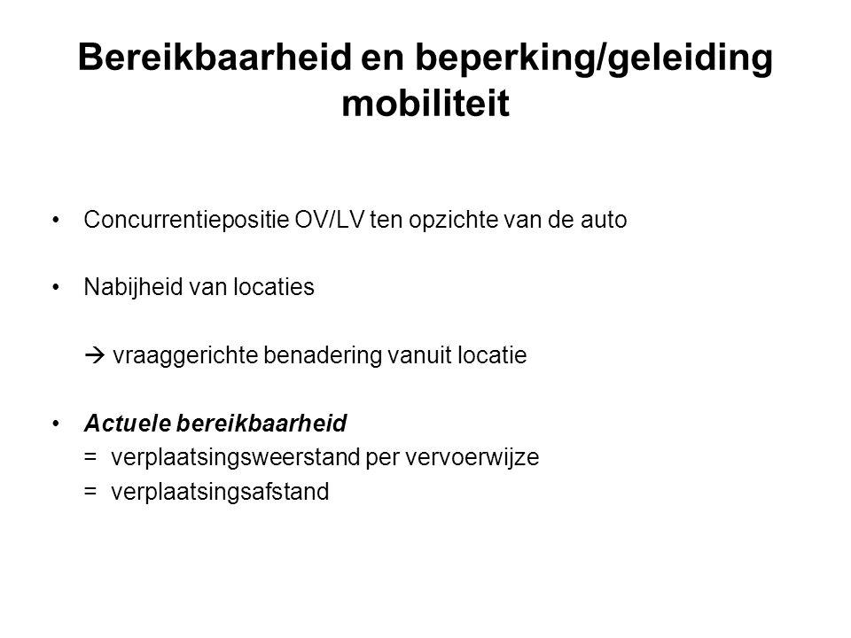 Bereikbaarheid en beperking/geleiding mobiliteit Concurrentiepositie OV/LV ten opzichte van de auto Nabijheid van locaties  vraaggerichte benadering