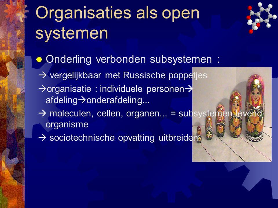 Organisaties als open systemen  Onderling verbonden subsystemen :  vergelijkbaar met Russische poppetjes  organisatie : individuele personen  afde
