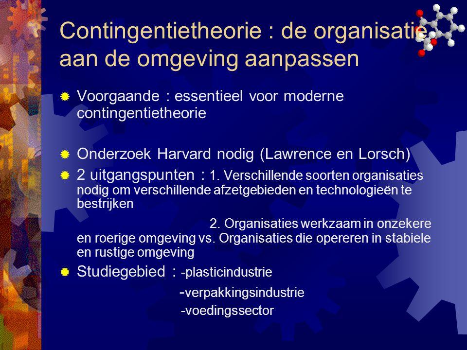 Contingentietheorie : de organisatie aan de omgeving aanpassen  Voorgaande : essentieel voor moderne contingentietheorie  Onderzoek Harvard nodig (L