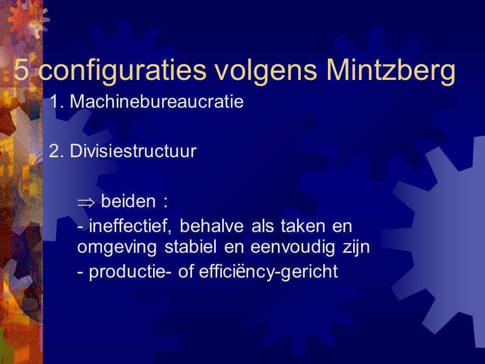 5 configuraties volgens Mintzberg 1. Machinebureaucratie 2. Divisiestructuur  beiden : - ineffectief, behalve als taken en omgeving stabiel en eenvou