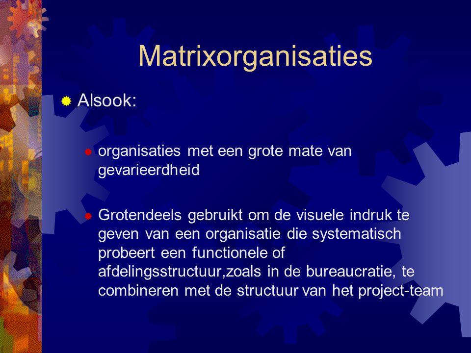 Matrixorganisaties  Alsook:  organisaties met een grote mate van gevarieerdheid  Grotendeels gebruikt om de visuele indruk te geven van een organis