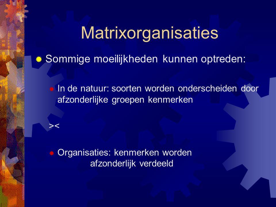Matrixorganisaties  Sommige moeilijkheden kunnen optreden:  In de natuur: soorten worden onderscheiden door afzonderlijke groepen kenmerken ><  Org
