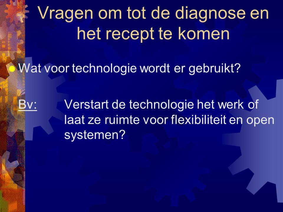 Vragen om tot de diagnose en het recept te komen  Wat voor technologie wordt er gebruikt? Bv: Verstart de technologie het werk of laat ze ruimte voor
