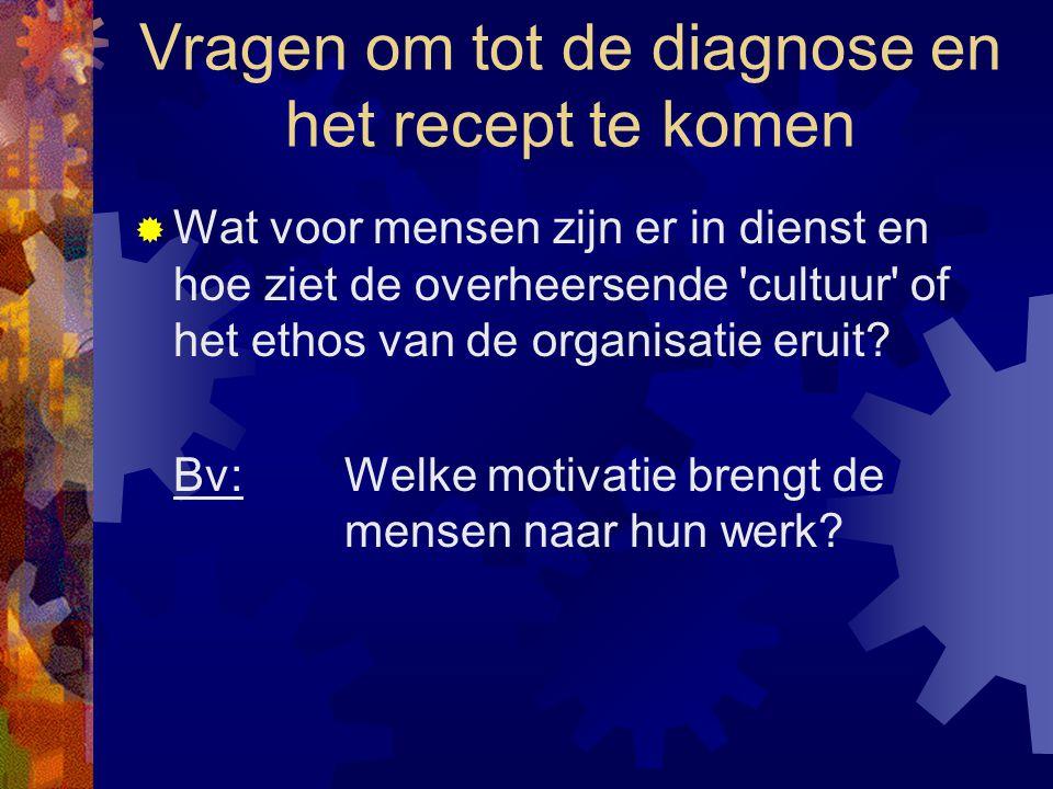 Vragen om tot de diagnose en het recept te komen  Wat voor mensen zijn er in dienst en hoe ziet de overheersende 'cultuur' of het ethos van de organi