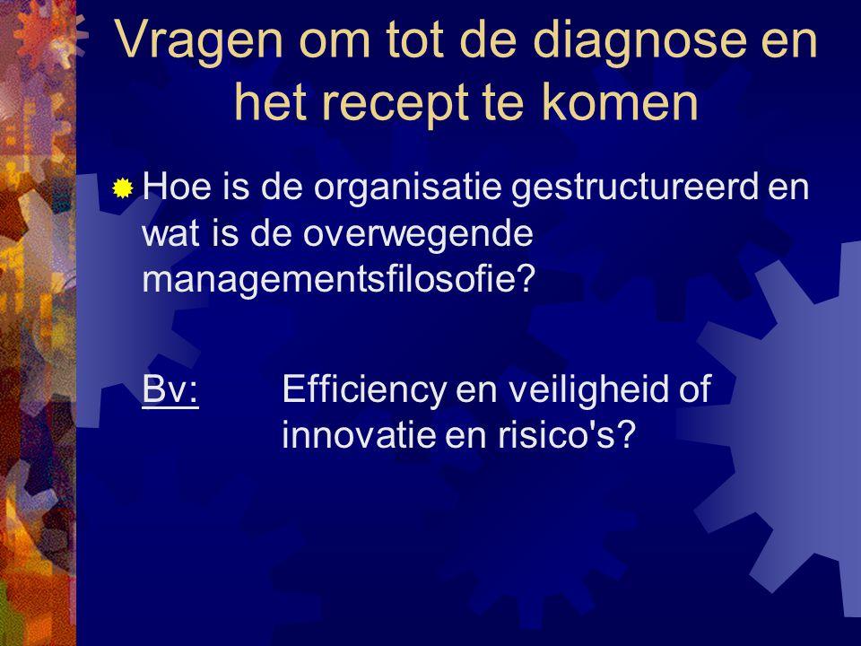 Vragen om tot de diagnose en het recept te komen  Hoe is de organisatie gestructureerd en wat is de overwegende managementsfilosofie? Bv:Efficiency e