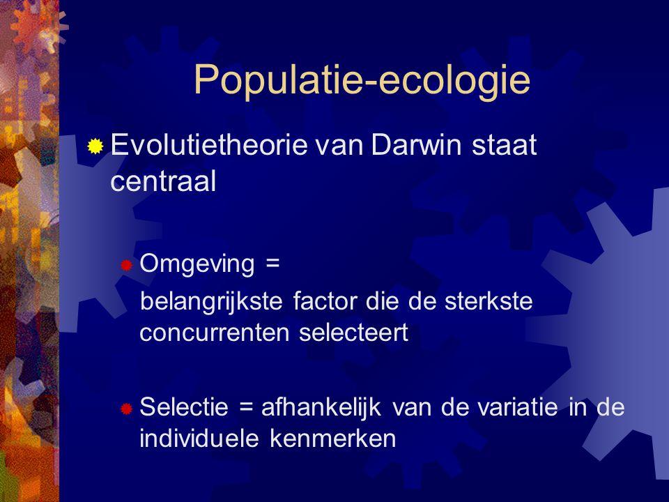 Populatie-ecologie  Evolutietheorie van Darwin staat centraal  Omgeving = belangrijkste factor die de sterkste concurrenten selecteert  Selectie =