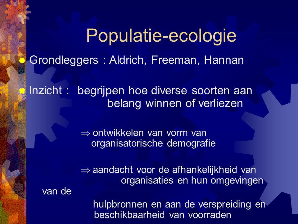 Populatie-ecologie  Grondleggers : Aldrich, Freeman, Hannan  Inzicht : begrijpen hoe diverse soorten aan belang winnen of verliezen  ontwikkelen va