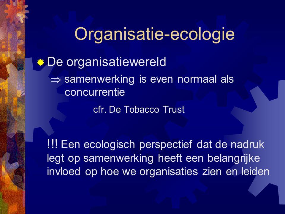 Organisatie-ecologie  De organisatiewereld  samenwerking is even normaal als concurrentie cfr. De Tobacco Trust !!! Een ecologisch perspectief dat d