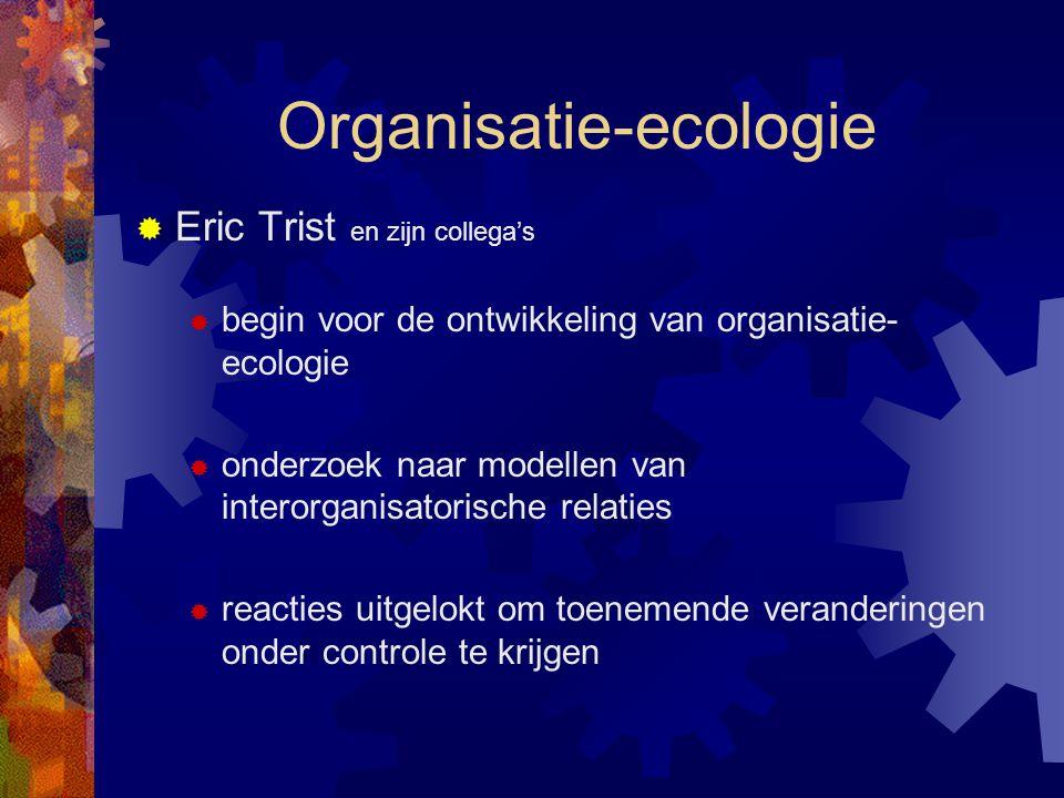 Organisatie-ecologie  Eric Trist en zijn collega's  begin voor de ontwikkeling van organisatie- ecologie  onderzoek naar modellen van interorganisa